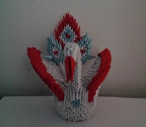 3d origami peacock | hartosna.com | 3d origami, Origami katze | 435x500